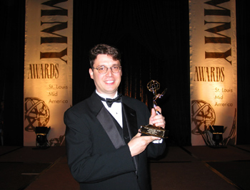 Lane Wyrick with Mid-America Emmy Award